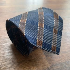 Giorgio Armani Plaid Blue & Brown Silk Tie